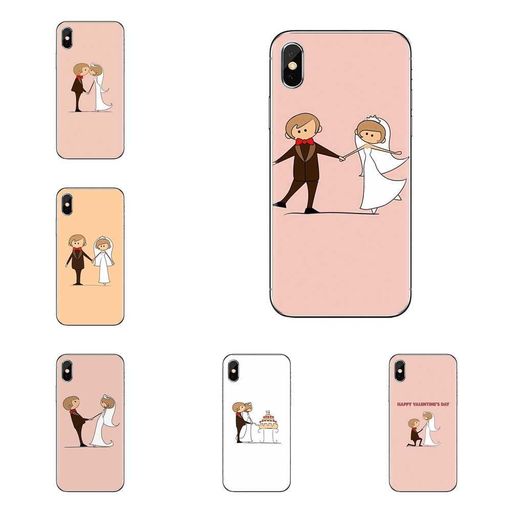 עבור iPod מגע Apple iPhone 4 4S 5 5S SE 5C 6 6S 7 8 X XR XS בתוספת מקסימום חתונה כלה וחתן שקוף רך נרתיקים