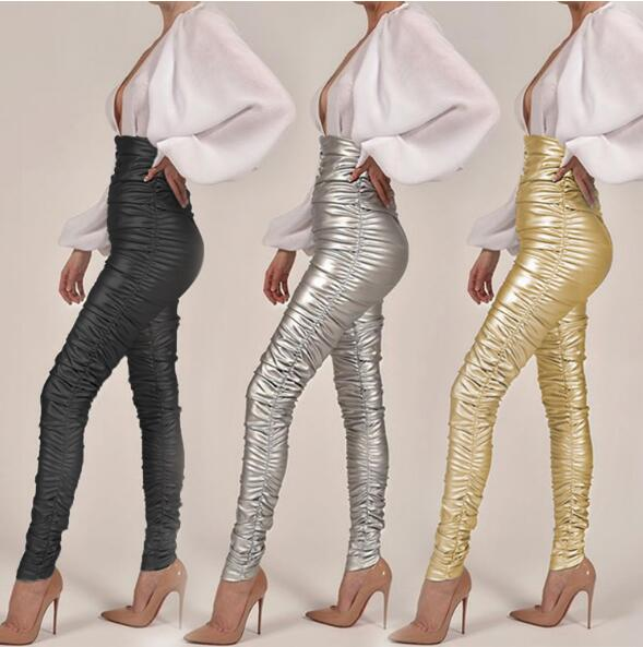 Autumn Winter Women  PU Leather Pants Female Sexy Slim Elastic Stretch Fold  Skinny High Waist Pencil Pants Women Tight Trouser