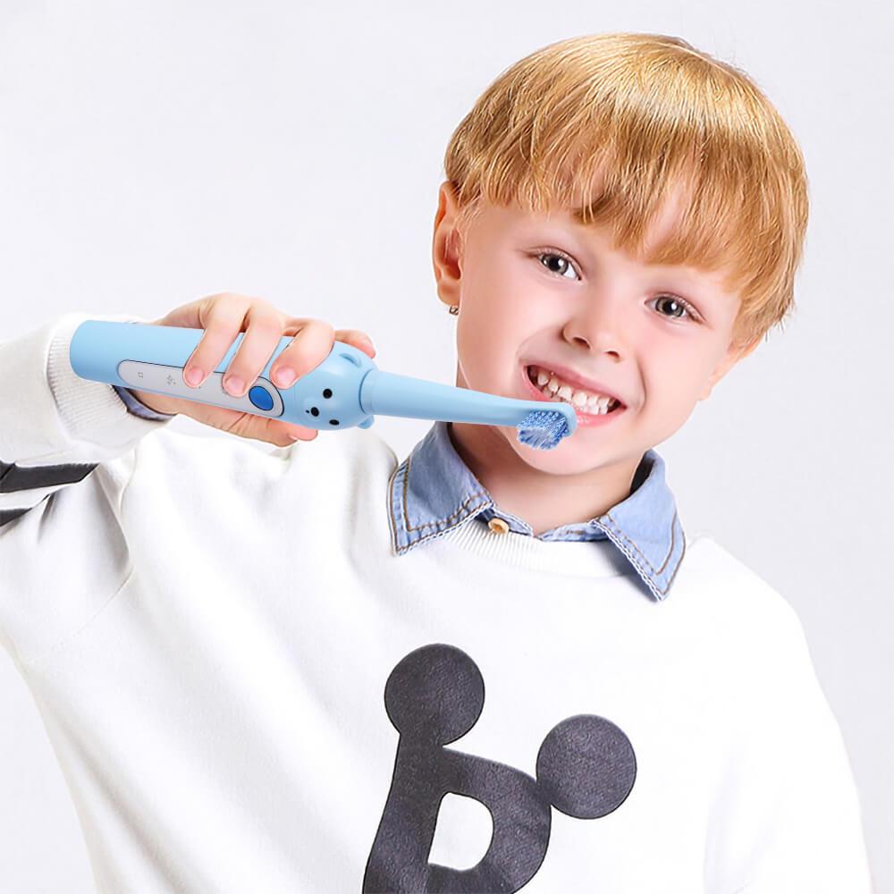 En iyi çocuk Sonic elektrikli diş fırçası 3 mod USB şarj edilebilir karikatür desen fırça diş yedek kafa ile çocuklar 3-12 yıl