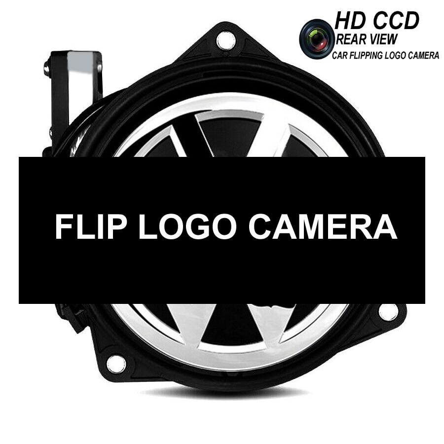 Car Flip Logo Reverse Camera for Volkswagen VW Golf 5 6 MK6 Passat B6 CC B7 B8 Golf 7 Emblem Rear View Camera RGB CVBS CCD