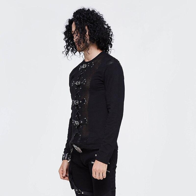 Devil Fashion Men Tops Hot Sale Rock Punk Buckle Mesh Long Sleeve T Shirt Men Vest - 3