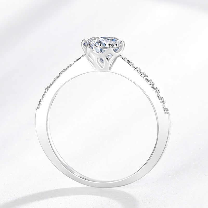 Colorfish 925 prata esterlina anel de noivado clássico quatro pontas 0.7 ct corte redondo feminino jóias split shank anéis de dedo do sexo feminino