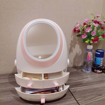 makeup LED mirror with cosmetic classification storage case USB charge rotation vanity round Oval mirror  box