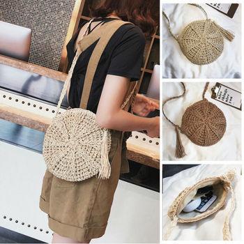 Summer New Women Tassels Round Crossbody Shoulder Beach Bag Circular Bag Wicker Straw Rattan Basket Woven Tote bag Straw Bag