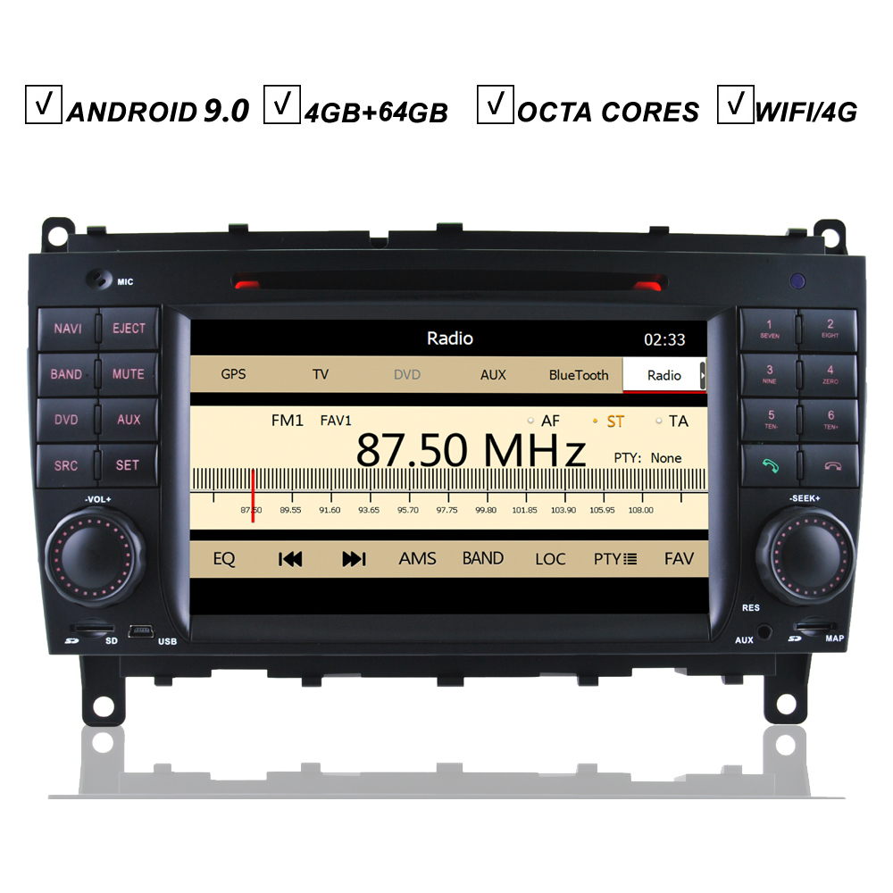7 Inch Car DVD <font><b>GPS</b></font> Player Android 9.0 <font><b>For</b></font> <font><b>Mercedes</b></font> Benz W209 CLK CLS W219 Radio 4G+64G Bluetooth Camera Input Wifi Sat Navi DAB+ image