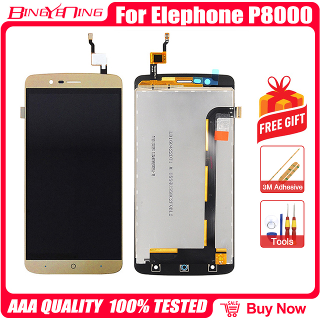 BingYeNing New Original For Elephone P8000 Touch Screen +  LCD Display+Frame Assembly Replacement