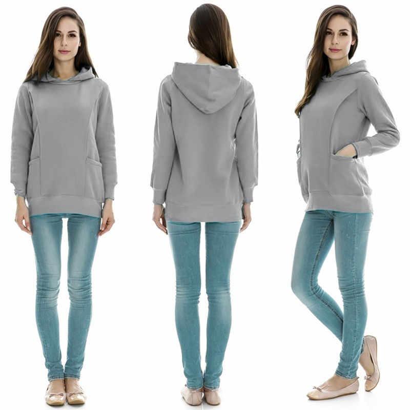Lonsant outono inverno quente enfermagem maternidade hoodies para grávidas amamentação gravidez com capuz superior camisola para grávidas