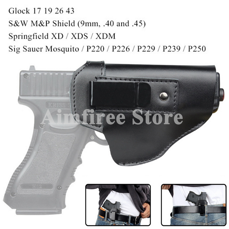 Tactical Left Right <font><b>Gun</b></font> Holster for <font><b>Glock</b></font> 17 19 26 43 S&W M&P <font><b>9MM</b></font> Pistol Leather Concealed Holster image