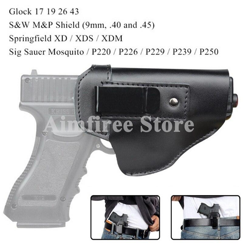 Coldre para Glock Coldre de Couro Tático Esquerda Direita 26 43 s & w m p 9mm Pistola Escondido 17 19
