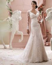 Свадебное платье Русалка с длинным рукавом винтажное кружевное