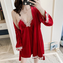 Women 2 Pieces Pajamas Sets Pleuche Sleepwear Autumn Winter Homewear Gold Velvet Warm Sexy Embroidery Nightwear Chest Pads