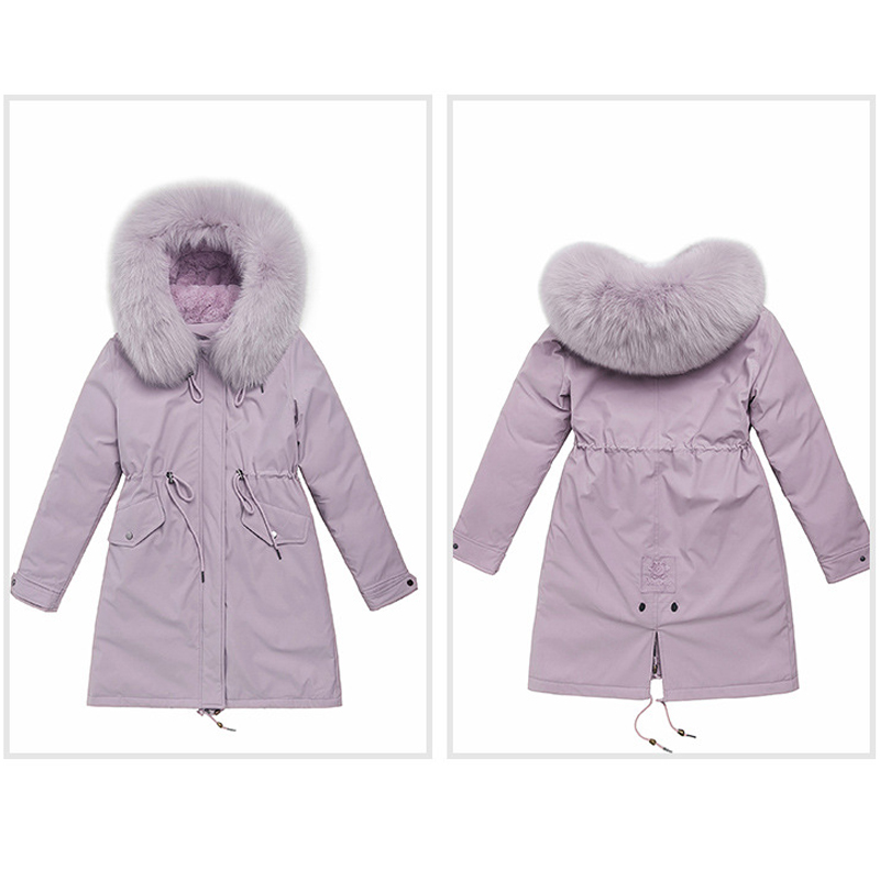 Image 5 - women long fur collar thick down coats slim hooded with pockets  zipper 2020 winter warm down jackets solid casual outwearDown Coats
