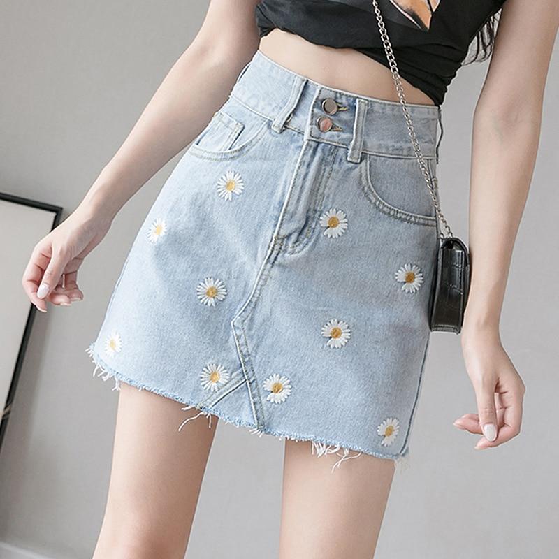 Women Floral Denim Skirt Ladies Above Knee Mini A-Line Empire High Waist Button Fashion Casual Skirts