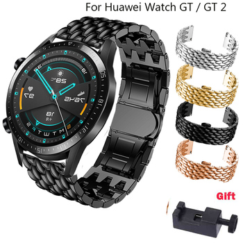 22mm Stainless Steel Watchband Replacement Strap For HUAWEI WATCH GT 1 GT 2 46mm wrist strap For Huami Amazfit GTR 47mm belt