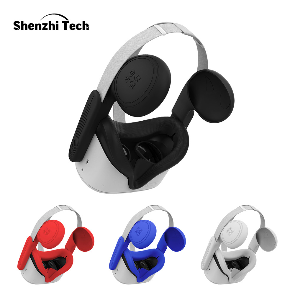 Silicone Ear Muffs for Oculus Quest 2 Eye Mask Cover VR Headset to Enhanced Headset Sound Face Pad Cushion for Oculus Quest 2