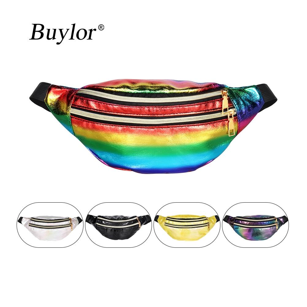 Buylor Belt Bag Women Holographic Fanny Pack Laser Bumbag Designer Waist Bag Waist Packs Phone Pouch
