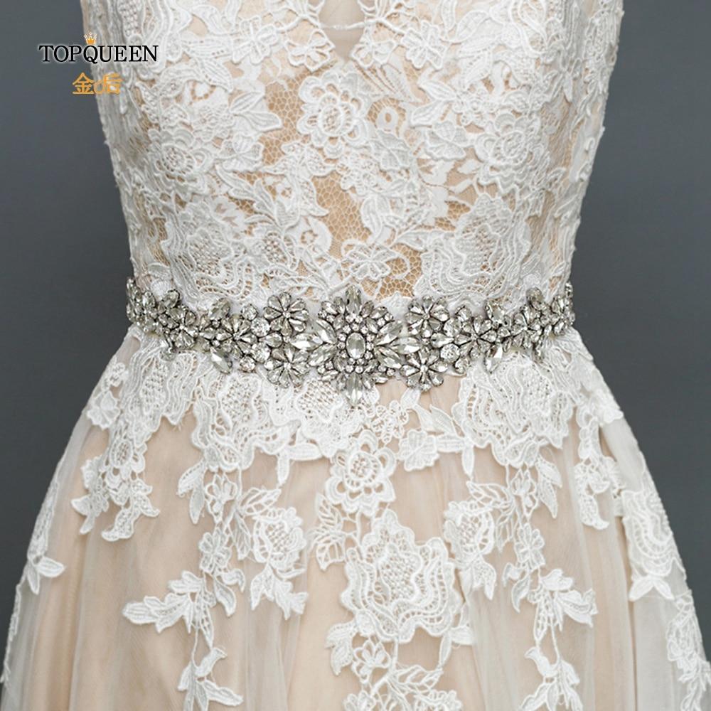 TOPQUEEN S325B Wedding Gown Belt Rhinestone Sash Belts For Dresses Wedding Sash Bridal Belt Wedding Accessories Belt Silver Belt