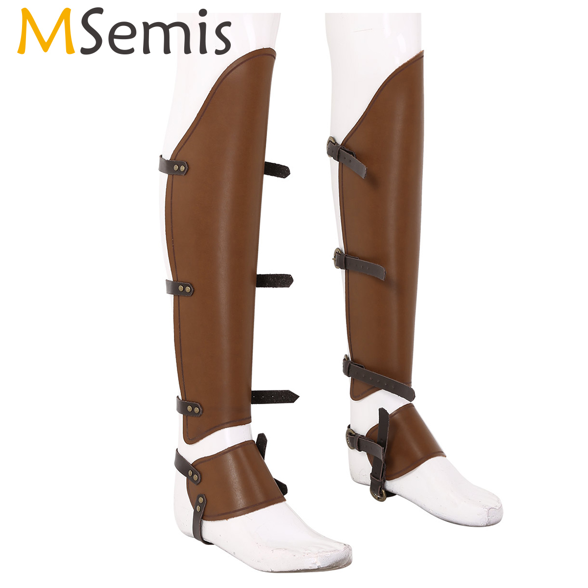 MSemis Vintage Medieval Steampunk Adjustable Leather Half Chaps Long Leg Cover Gaiter Shoe Spats Boot Covers Cavalier Accessory