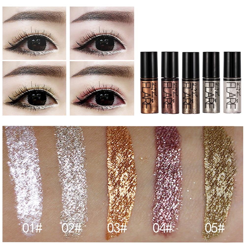 5 Color Metallic Shiny Eyeshadow Glitter Liquid Eyeliner Makeup Eye Liner Pen-Waterproof Makeup Pigment Eyeshadow Palette