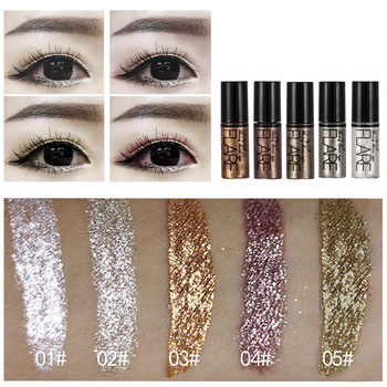 5 Color Metallic Shiny Eyeshadow Glitter Liquid Eyeliner Makeup Eye Liner Pen-Waterproof Makeup Pigment Eyeshadow Palette