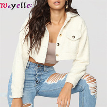 Elegant Cropped Teddy Fur Jacket Coat Women Front Pockets Thick Warm Crop Top Coats Autumn/Winter Soft Short Jackets Female 2019