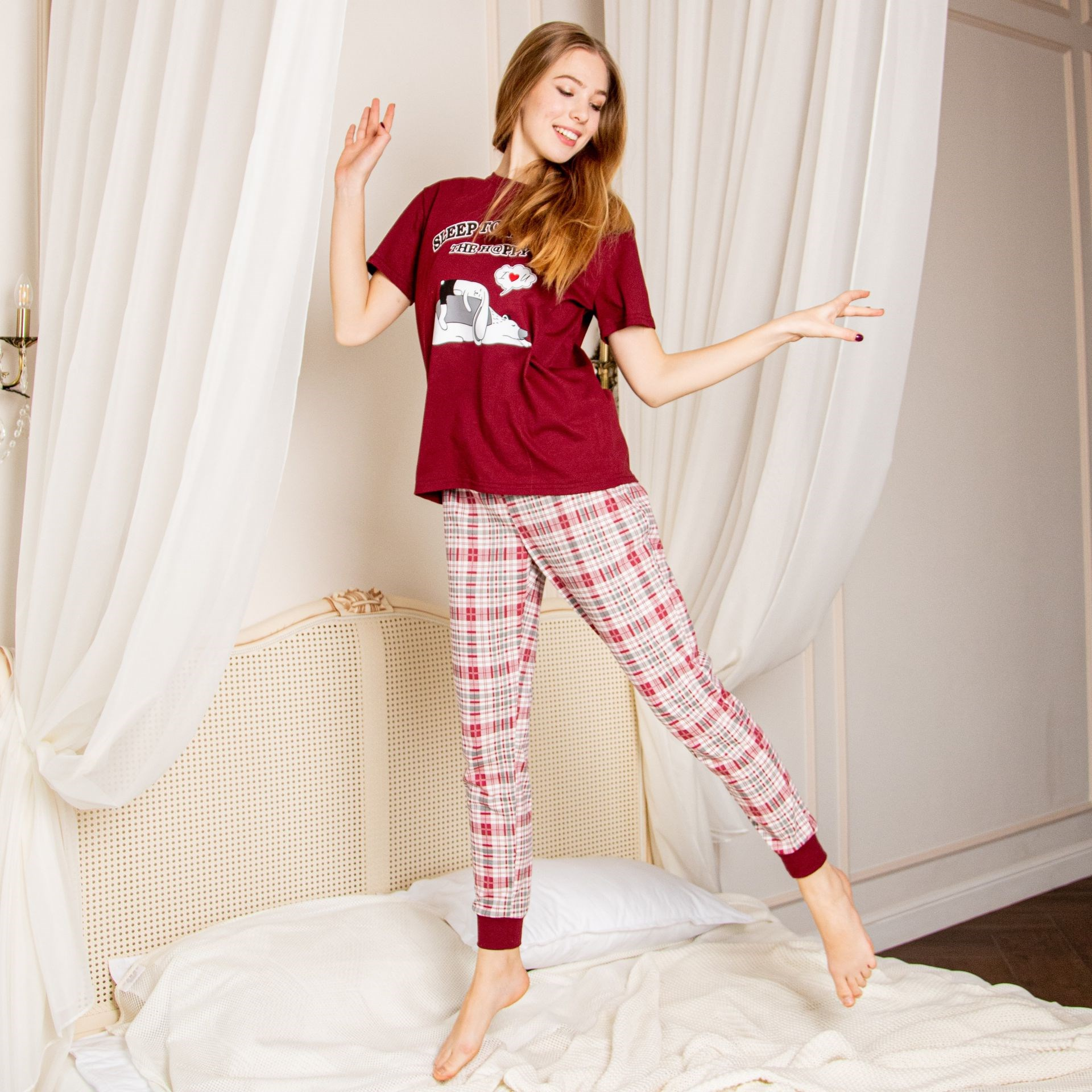 Atoff Home Women's Pajamas ZHP 039 (Burgundy + Cage)
