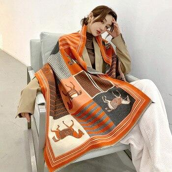 2020 Winter Cashmere Scarf Lady Design Warm Pashmina Blanket Carriage Scarves Women Shawl Female Decoration Thick Foulard