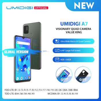 UMIDIGI A7 Android 10 6.49'' Large Full Screen 4GB 64GB Quad Camera Octa-Core Processor 4G Global Version Smartphone
