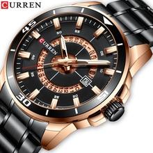 CURREN Black Stainless Steel Military Quartz Watch Luminous Display Calendar Sports Wrist 2019 Luxury Fashion Brand Clock