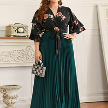 2020 Abaya Long Womens Summer Autumn Ruched Ladies Dresses Plus Large Size Fashion Stitching Elegant Maxi Ramadan Dress