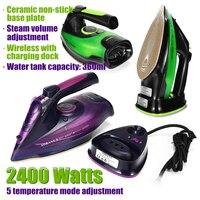Plancha de vapor eléctrica inalámbrica para ropa, plancha de vapor portátil de 2400W, 5 velocidades, ajustable, planchado de ropa
