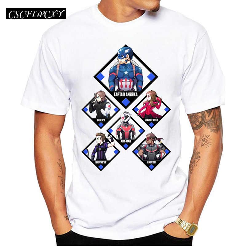 2019 新男性ファッションキャプテンアメリカ南北戦争ヒーロー Tシャツ半袖チームアイアンマンプリント tシャツ面白いコミックトップス