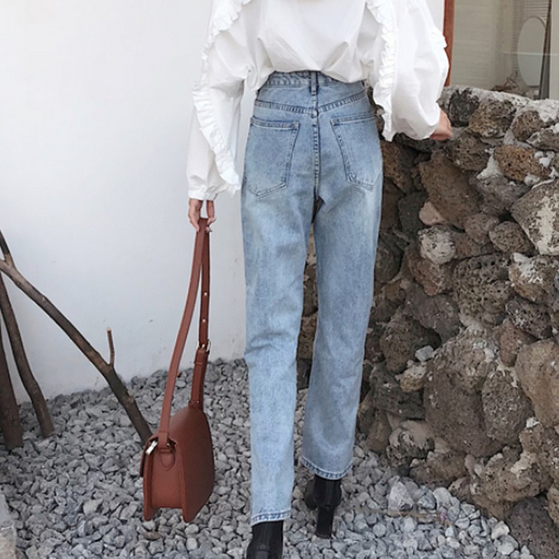Autumn Woman 39 s Jeans Vintage High Waist Jeans Side Slit Boyfriend Jeans for Women Straight Fashion Korean Ladies Jean Pants in Jeans from Women 39 s Clothing