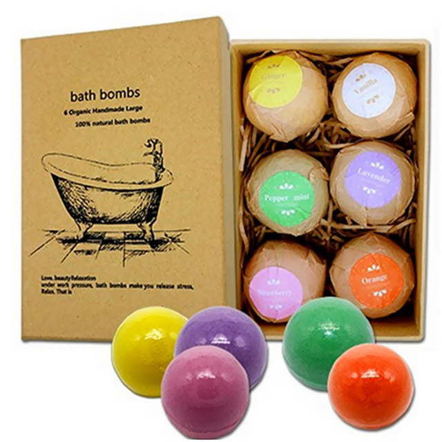 6pcs Handmade Natural Bath Salt Essential Oils Balls Kit Moisturize Dry Skin for Women Men Boys Kids 1