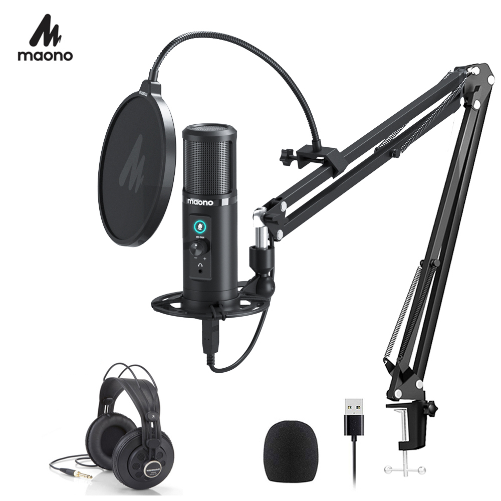 Closeout DealsMAONO Latency-Monitoring Cardioid-Condenser-Mic Microphone-Zero Mute-Button Professional