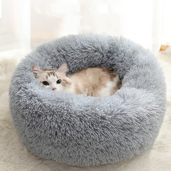 Fluffy Cat Bed Warm Round Pillow Soft Basket Dog Donut Cats Products for Pet Small Dogs