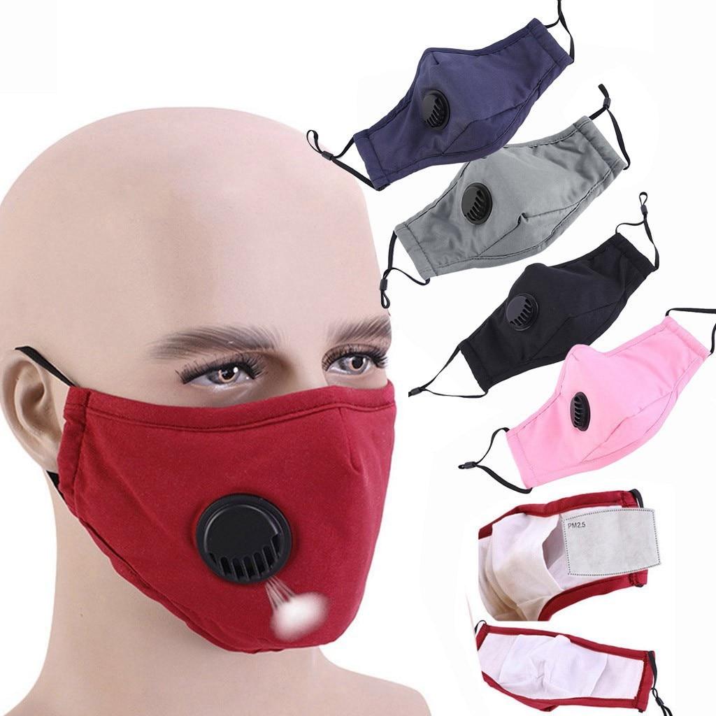 Однотонная маска с клапаном, быстросохнущая маска для рта, ветрозащитная ткань, стирающаяся многоразовая маска для лица для мужчин и женщин