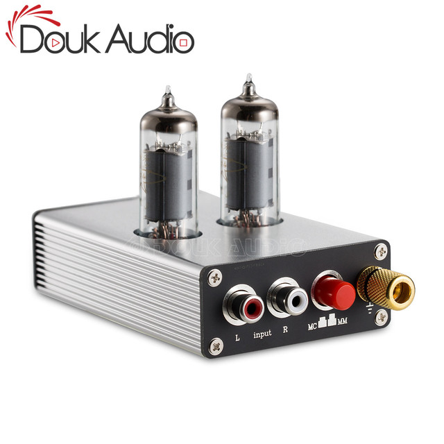Douk Audio HiFi 6K4 Vacuum Tube MM/MC Phono Stage Preamp Mini Turntable Audio Preamplifier