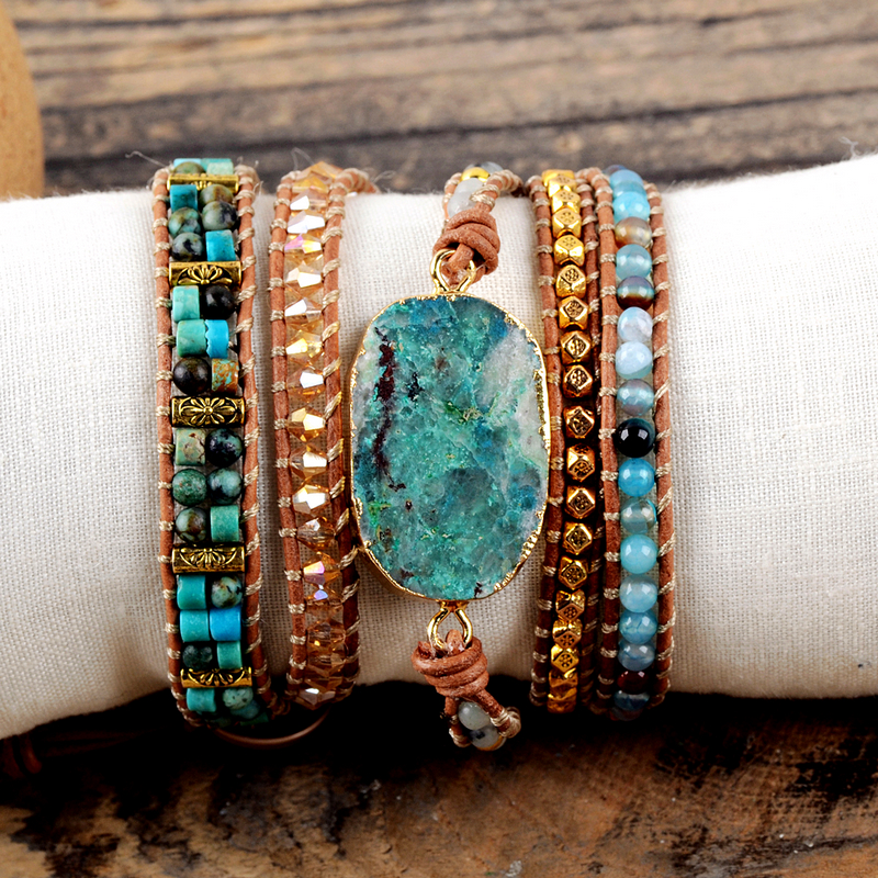 Image 5 - Natural Chrysocolla Women Bracelets Handmade 5 Strands Wrap Bracelets Mixed Stones Beaded Genuine Leather Bracelet Girls GiftsWrap Bracelets   -