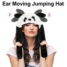 Funny Animal Plush Hat Cute Ears Moving Jumping Earflap Cap Cosplay Party Props N50