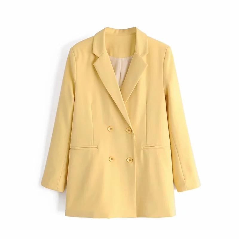 ZXQJ-chaquetas amarillas a la moda para mujer, abrigos vintage para mujer, trajes elegantes con botones, chaqueta de bolsillo informal para niña 2020