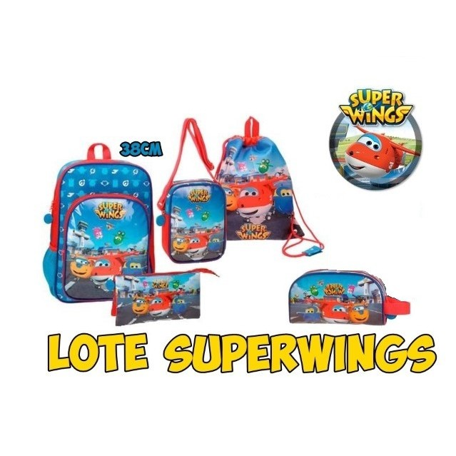 Lot Superwings 1Mochilas, Drawstring Bag, Pencil Pouch Threefold Shoulder Bag & Toiletry Bag