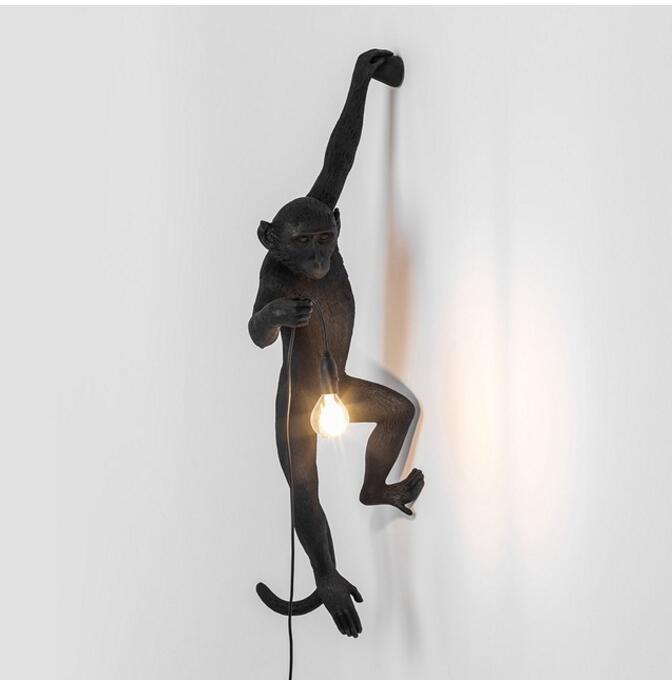 Resin Black White Monkey Pendant Light For Living Room Lamps Art Parlor Study Room Led Lights lustre With E27 Dimming Led Bulb - 2