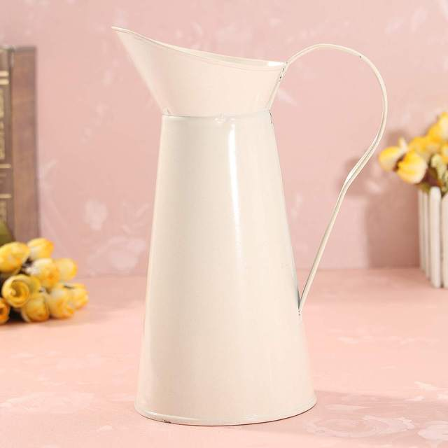 Flower-Vase Storage-Bucket-Tool Pitcher Container Wedding Ornament Shabby Chic Cream Flower Vase Retro Iron Tub Home Decor 5