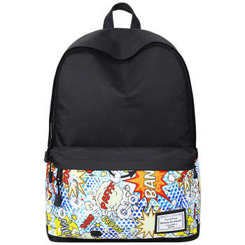 Fashion Printed Backpack Women Canvas School Bag For Teenage Girl Student Bookbag Travel Laptop Back Bag  Black Bagpack Rucksack - DISCOUNT ITEM  49% OFF All Category