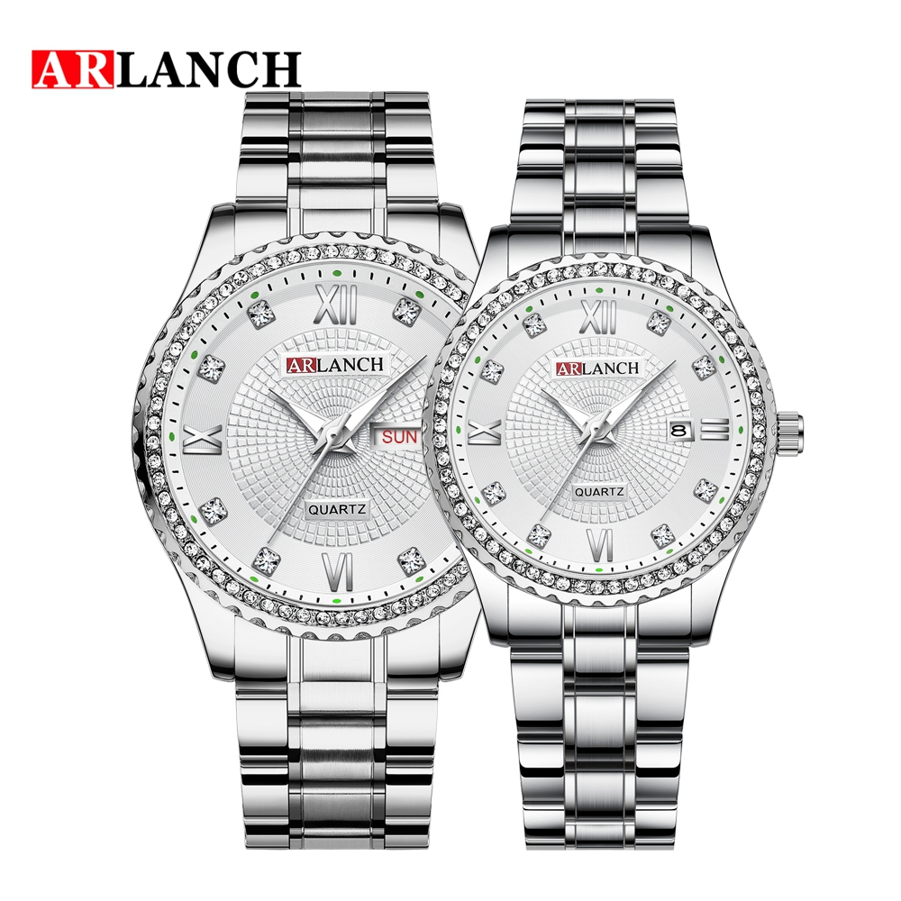Couple Watches In Lover's Watches ARLANCH Top Grade Brand Stainless Steel Diamond Double Calendar Men's Waterproof Couple Watch