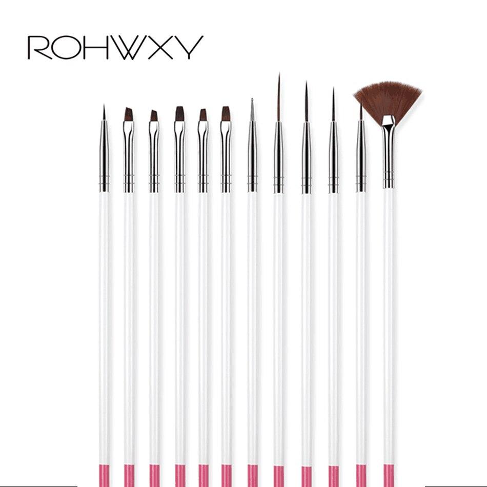 ROHWXY 12 PCS Acrylic Brush Nail Art Brush Carving Flower Nail Gel Pen UV Gel Drawing Painting Brush Handle Nail Art Tools