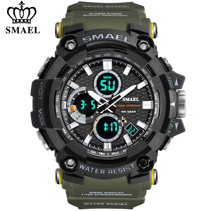SMAEL Men Watch Military Water Resistant Casual Sport LED Electronic Wrist Watches For Male Relogio Masculino Dual Display Watch