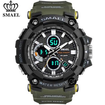SMAEL zegarek męski wojskowy wodoodporny Casual Sport LED elektroniczne zegarki na rękę dla mężczyzn Relogio Masculino zegarek z podwójnym wyświetlaczem tanie i dobre opinie 22cm QUARTZ Podwójny Wyświetlacz 3Bar Klamra CN (pochodzenie) Z tworzywa sztucznego 19mm Akrylowe Kwarcowe Zegarki Na Rękę