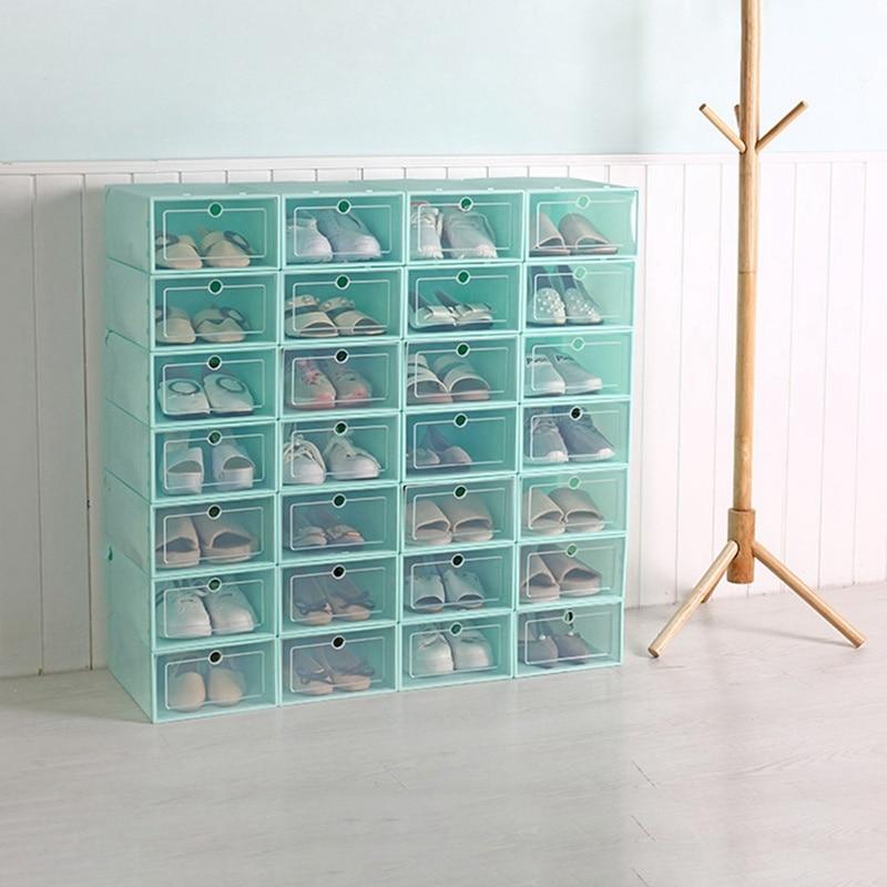 High Quality Household Shoes Box Transparent Plastic Shoes Box Sliding Door Style Shoes Storage Box For Women Men